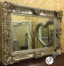 HUGE Antique Silver Ornate Regal Chunky Wall Mirror  - RRP £449 - VALENTINA
